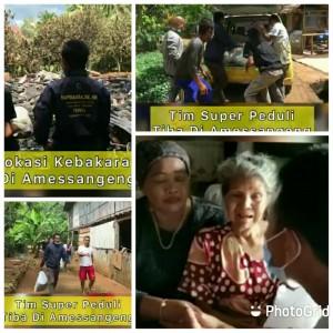 Tim Super Peduli Kunjungi Dan Bantu Korban Kebakaran di Desa GoariE