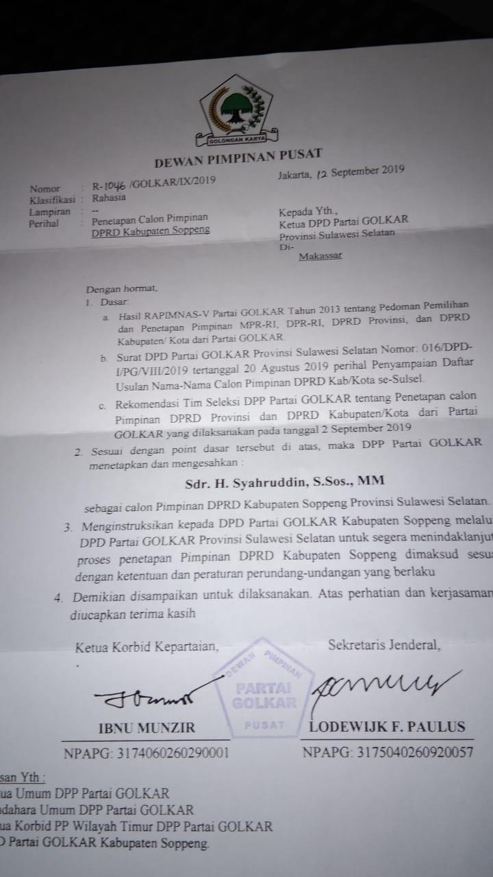Partai Golkar Tetapkan Syahruddin M Adam Jadi Calon Ketua DPRD Soppeng