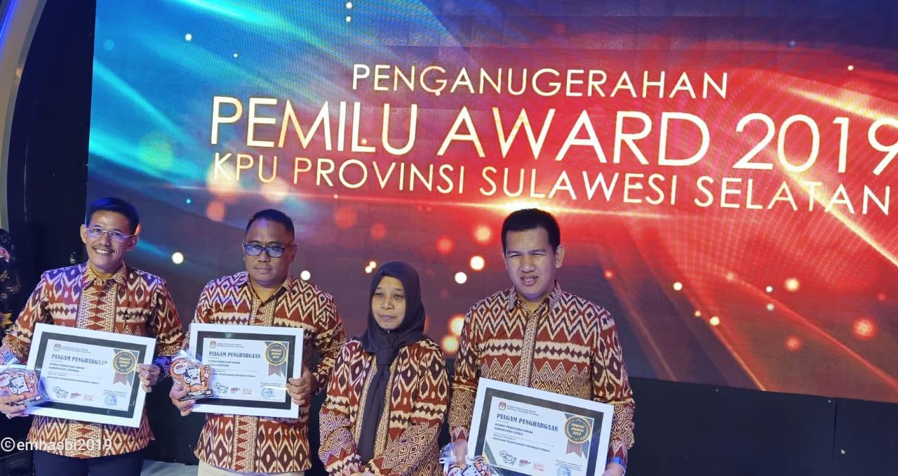 KPU Soppeng Raih  Award Penyelenggara Terbaik Pemilu 2019 Provinsi SulSel.