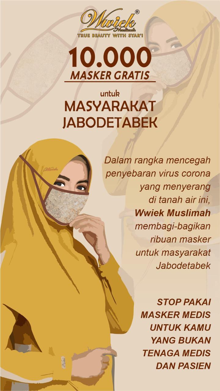 Wwiek Muslimah Bagikan 10 Ribu Masker Gratis Di Jabodetabek