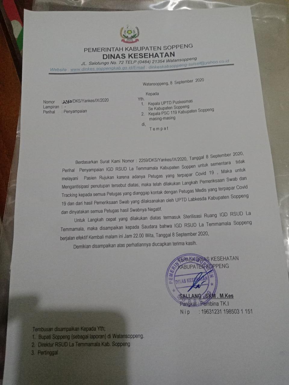 Pasca Seorang  Dokter Terpapar Covid, Pelayanan IGD RSUD La Temmamala Kini Kembali Dibuka
