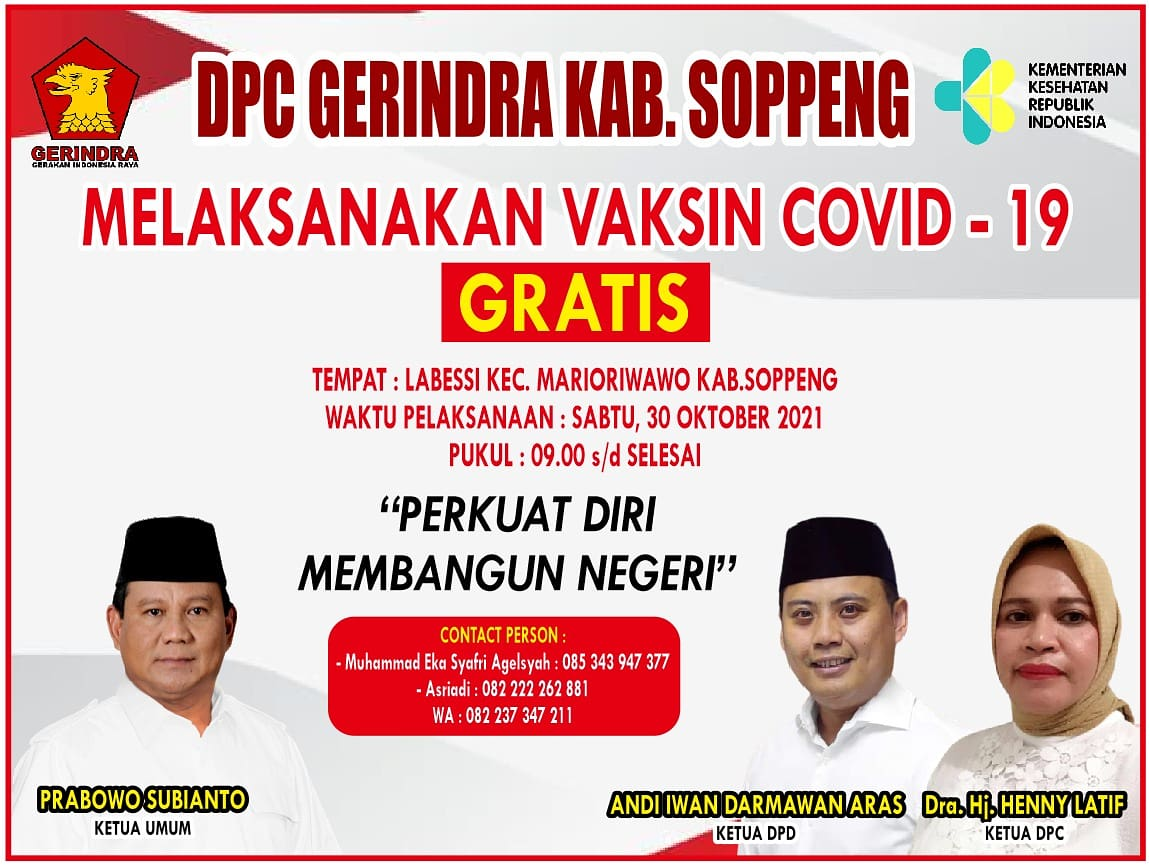DPC Partai Gerindra Soppeng Akan Gelar Vaksinasi Massal di Labessi