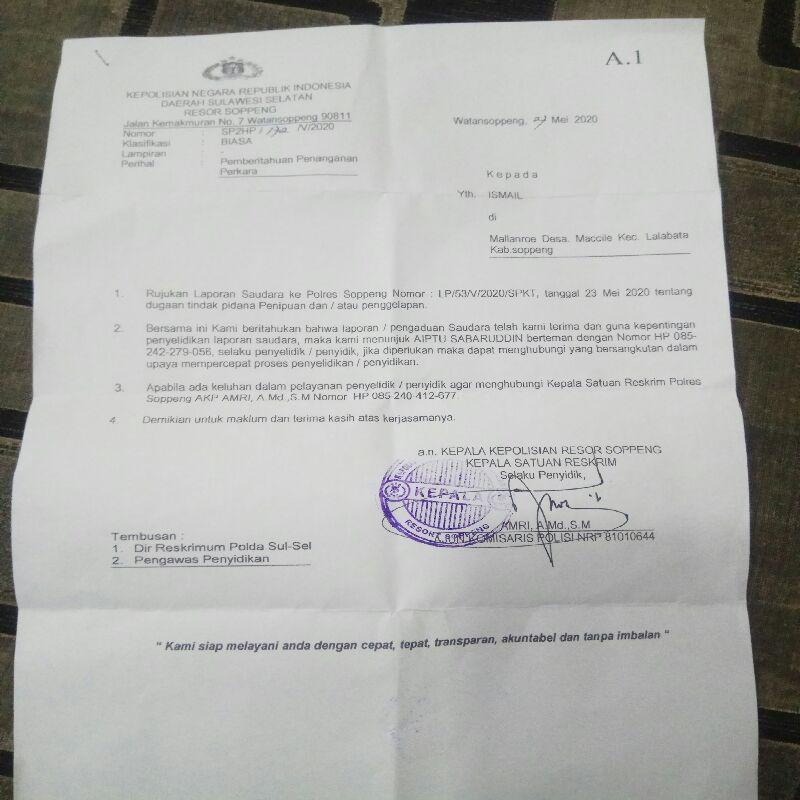 Merasa Ditipu, H. Ismail Laporkan Oknum Aparat Penegak Hukum ke Polres Soppeng