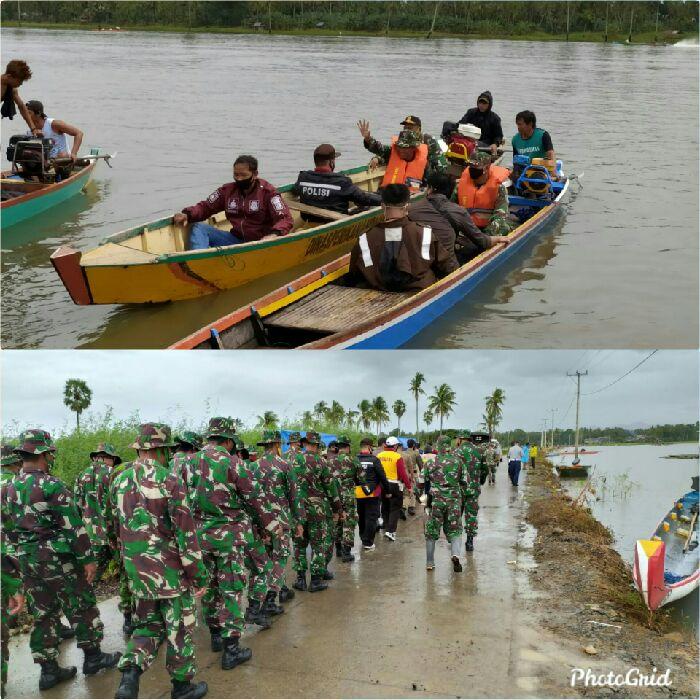 TNI  Gelar Latihan Bersama Terkait Penanggulangan Bencana Banjir  di Danau Tempe